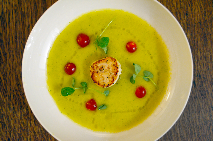 Yellow Tomato Gazpacho with Seared Scallops